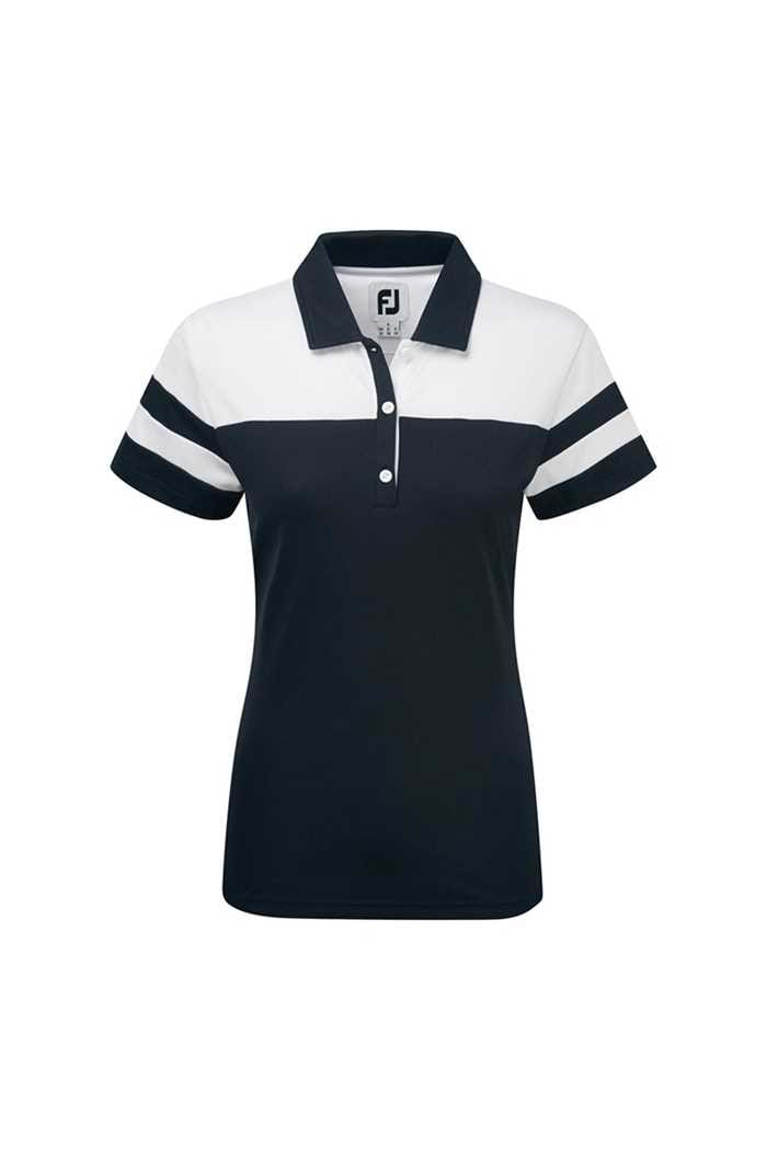 Picture of FootJoy zns Smooth Pique Colour Block Polo Shirt - White / Navy