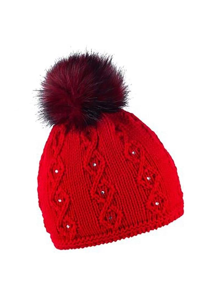 Picture of Sabbot zns Natalie Cable Pom Pom Beanie - Red
