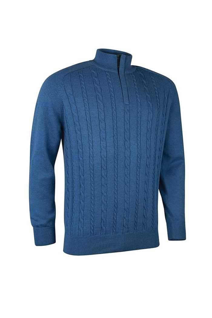 Picture of Glenmuir Munro Knit Panel Sweater - Tahiti Marl / Tartan