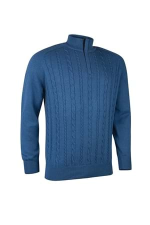 Picture of Glenmuir Munro Knit Panel Sweater - Tahiti Marl / Tartan
