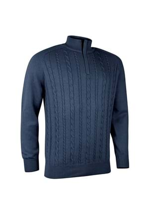 Picture of Glenmuir Munro Cable Knit Panel Sweater - Navy Marl / Tartan