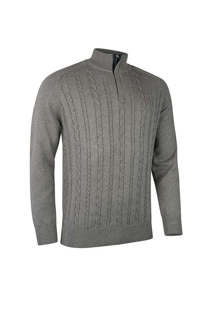 Picture of Glenmuir Munro  Cable Knit Panel Sweater - Mid Grey / Tartan