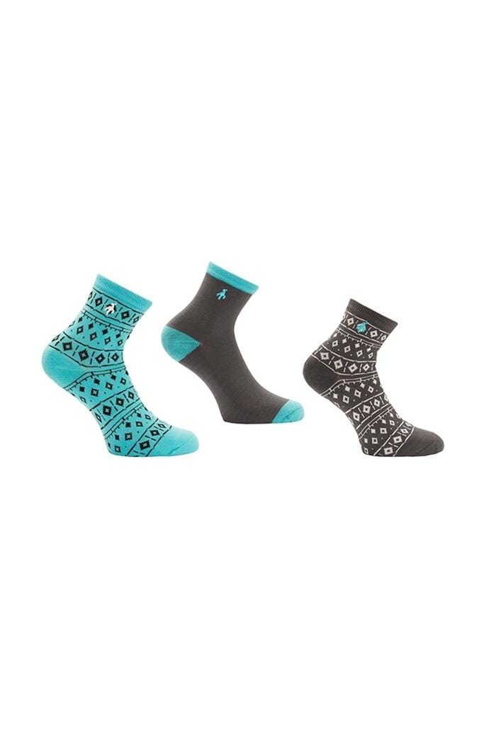 Picture of Green Lamb ZNS Hannah Patterned Socks - Charcoal / Lagoon