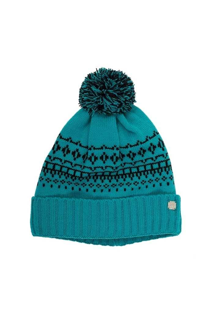 Picture of Green Lamb ZNS Helen Lined Fairisle Beanie - Lagoon / Black