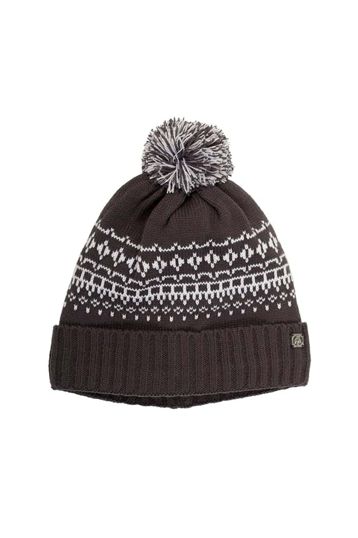 Picture of Green Lamb Helen Lined Fairisle Beanie - Charcoal / White