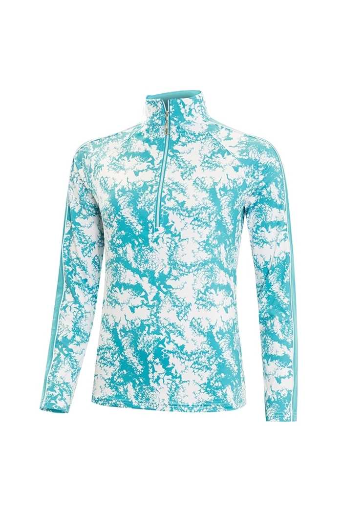 Picture of Green Lamb ZNS Lena Printed Midlayer - Lagoon / White