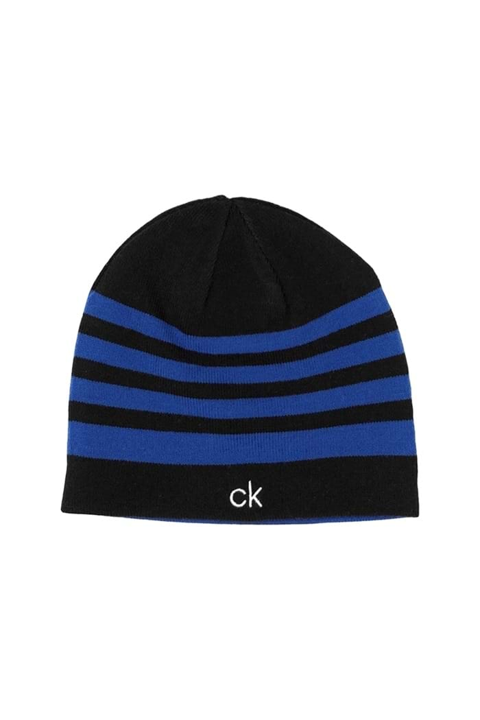 abd5cae9450 Calvin Klein Men s CK Stripe Beanie - Black   Royal - Calvin Klein ...
