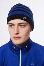 Picture of Calvin Klein CK Stripe Beanie - Black / Royal