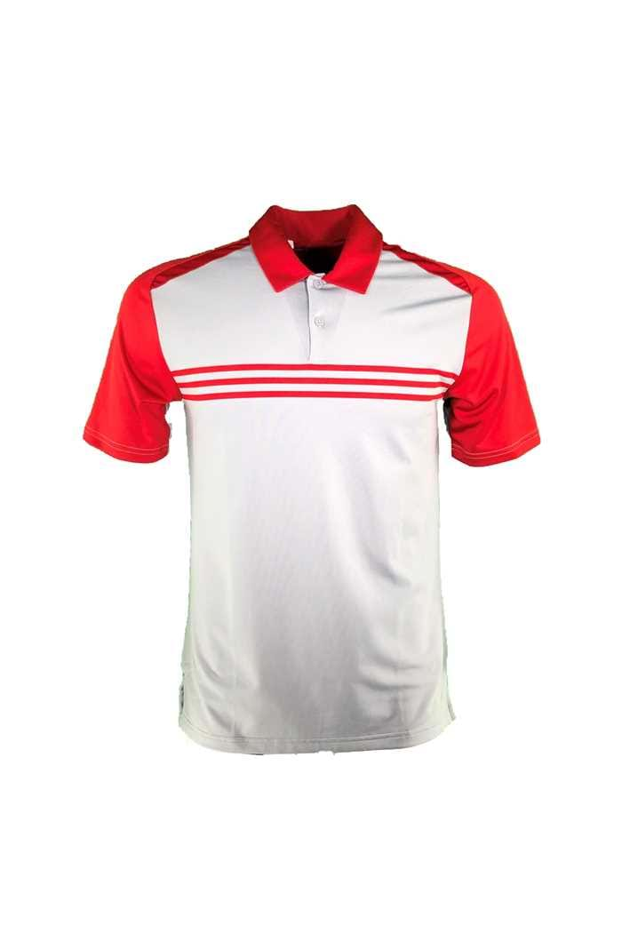 Picture of adidas zns Climacool Classic 3 Stripe Polo Shirt - Mid Grey / Power Red