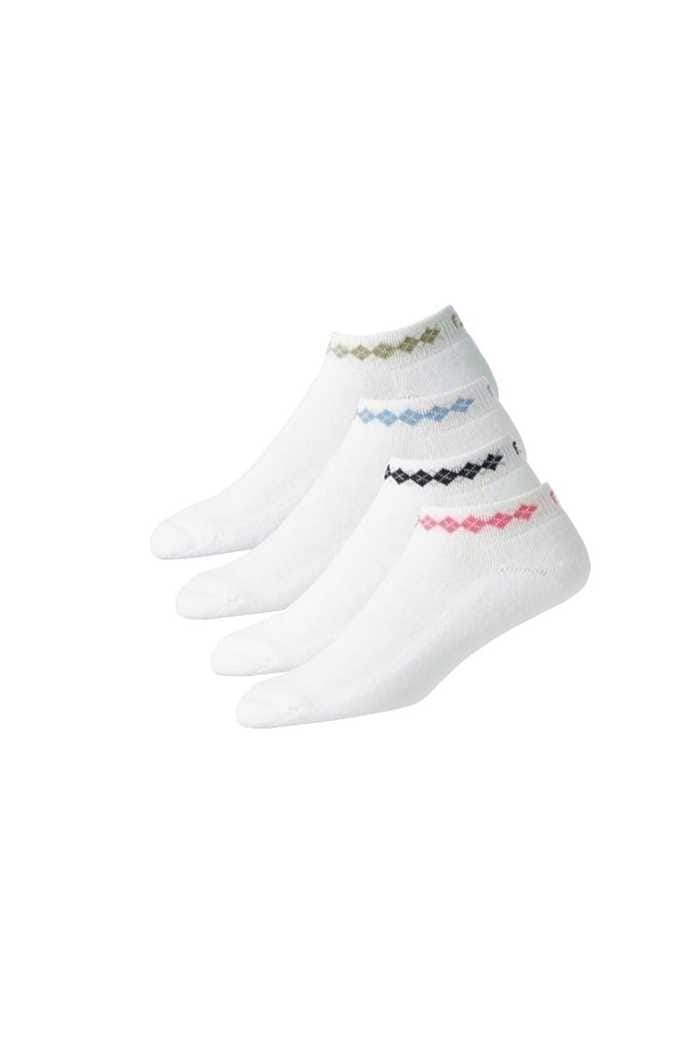 Picture of Footjoy zns Ladies Pro-Dry Sport Argyle Socks - White / Taupe