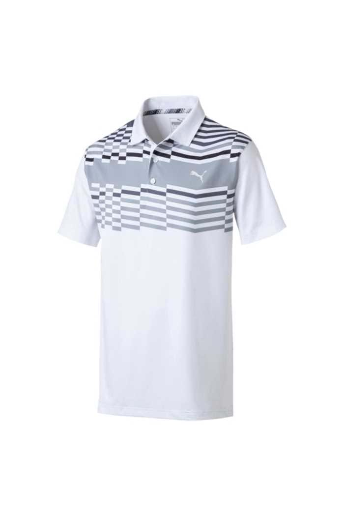 Picture of Puma Golf Men's Road Map Polo Shirt - Bright White / Puma Black