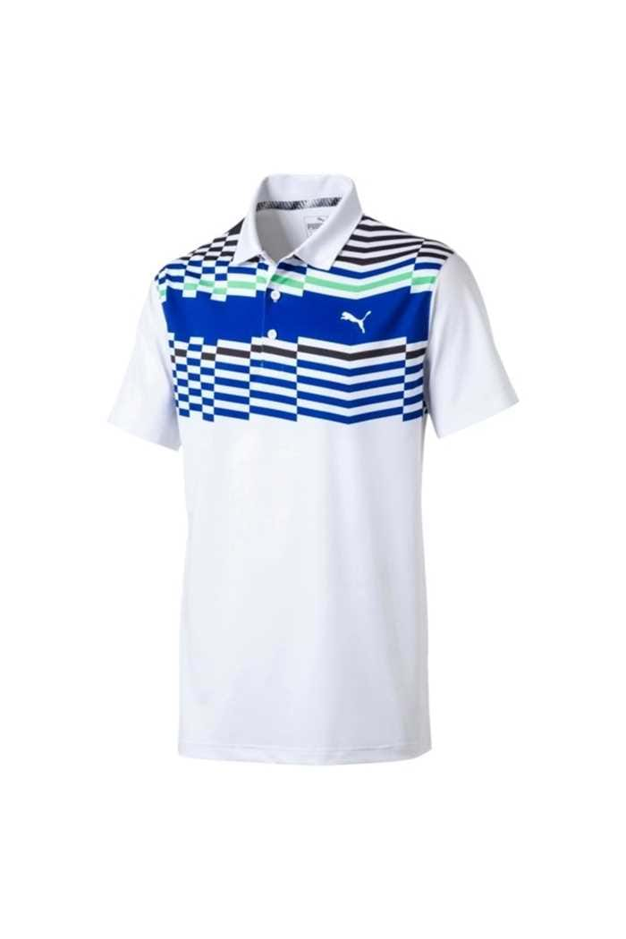Picture of Puma Golf Men's Road Map Polo Shirt - Bright White / Irish Green