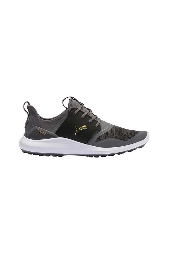 Picture of Puma Golf ZNS Ignite NXT Lace Golf Shoes - Quiet Shade Team Gold Black