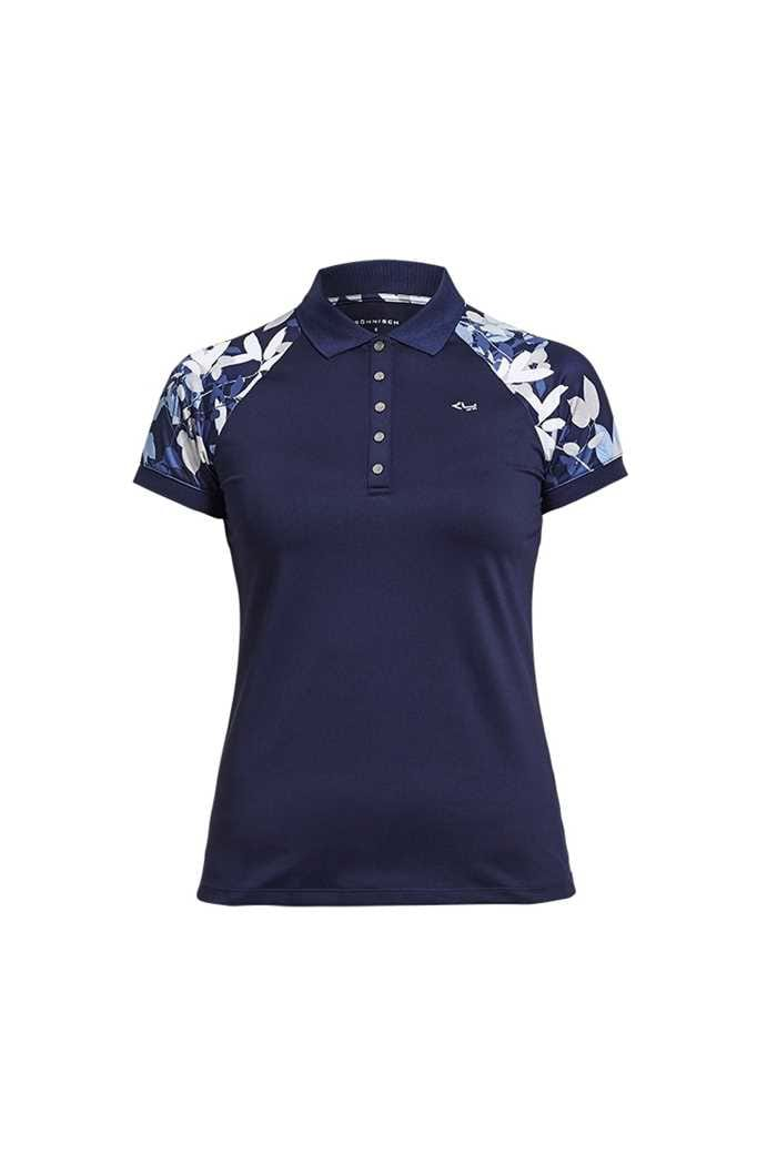 Picture of Rohnisch zns  Leaf Block PS Polo Shirt - Navy Leaves
