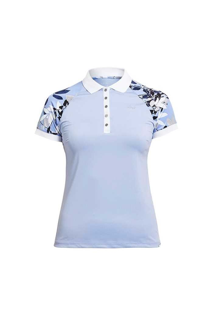 Picture of Rohnisch zns Leaf Block PS Polo Shirt - Light Blue Leaves