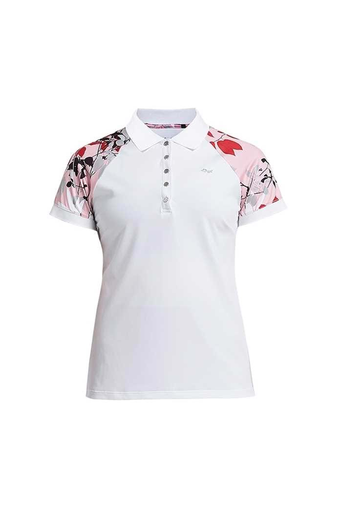 Picture of Rohnisch zns Leaf Block PS Polo Shirt - Pink Leaves
