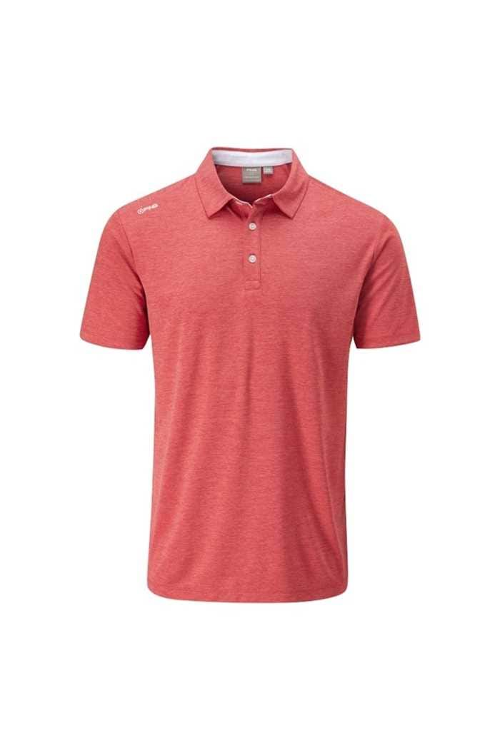Picture of Ping zns Men's Harrison Heather Polo Shirt - Deep Sea Coral Marl / White