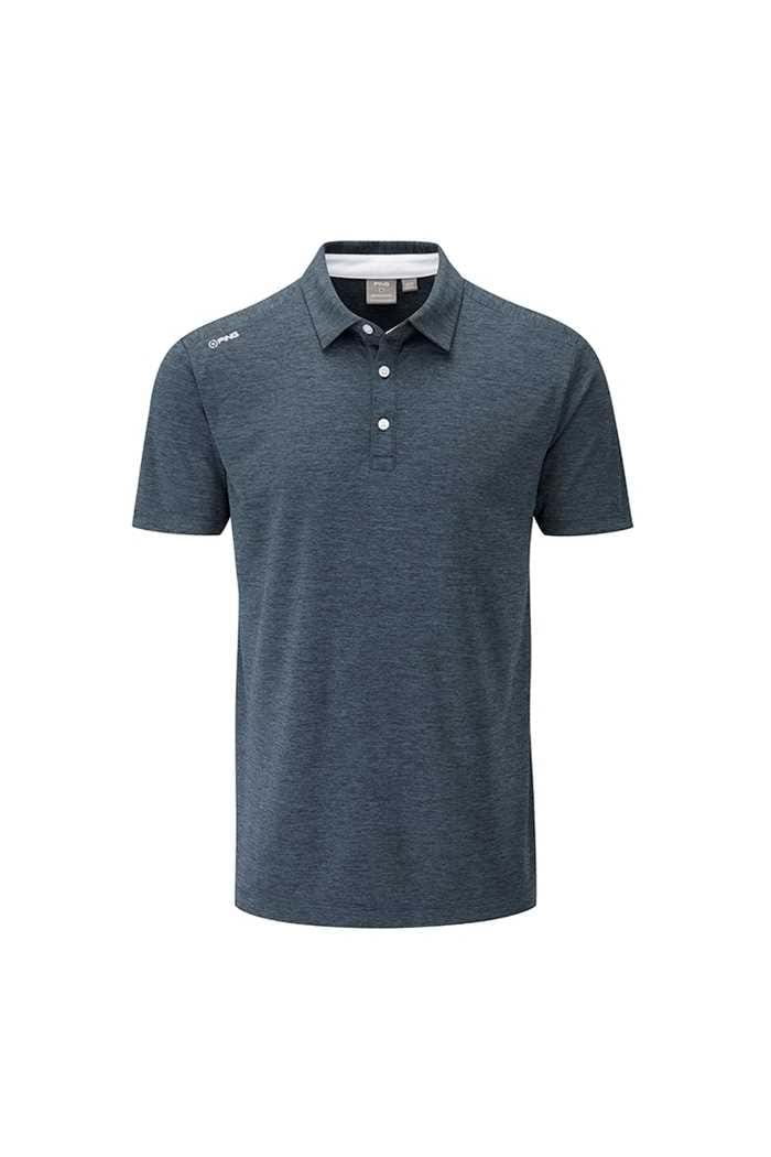 Picture of Ping zns Men's Harrison Heather Polo Shirt - Blue Graphite Marl / White