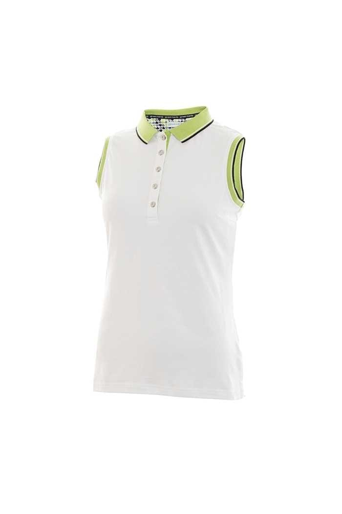 Picture of Green Lamb ZNS Pam Jersey Club Sleeveless Polo Shirt - White / Greenery