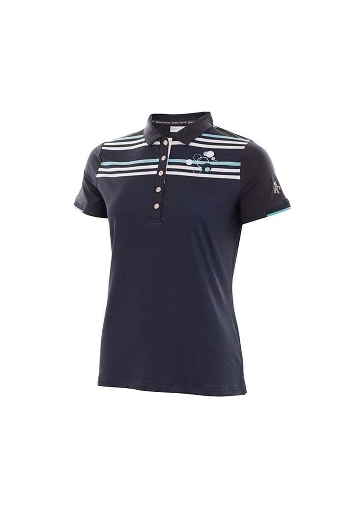 Picture of Green Lamb Pansey Striped Polo Shirt - Navy