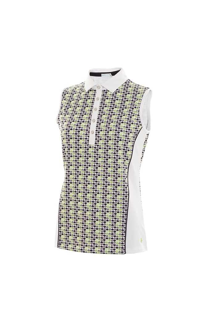 Picture of Green Lamb zns Philomena Side Panel Sleeveless Polo Shirt - White / Green