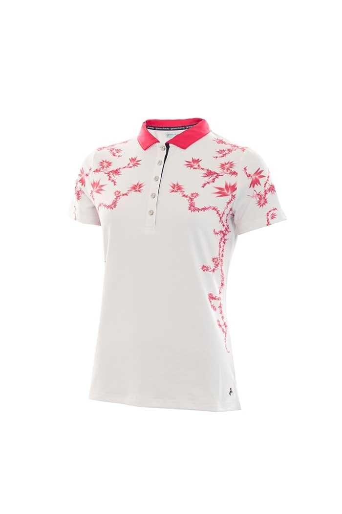 Picture of Green Lamb  zns Phil Placement Print Polo Shirt - White / Hibiscus
