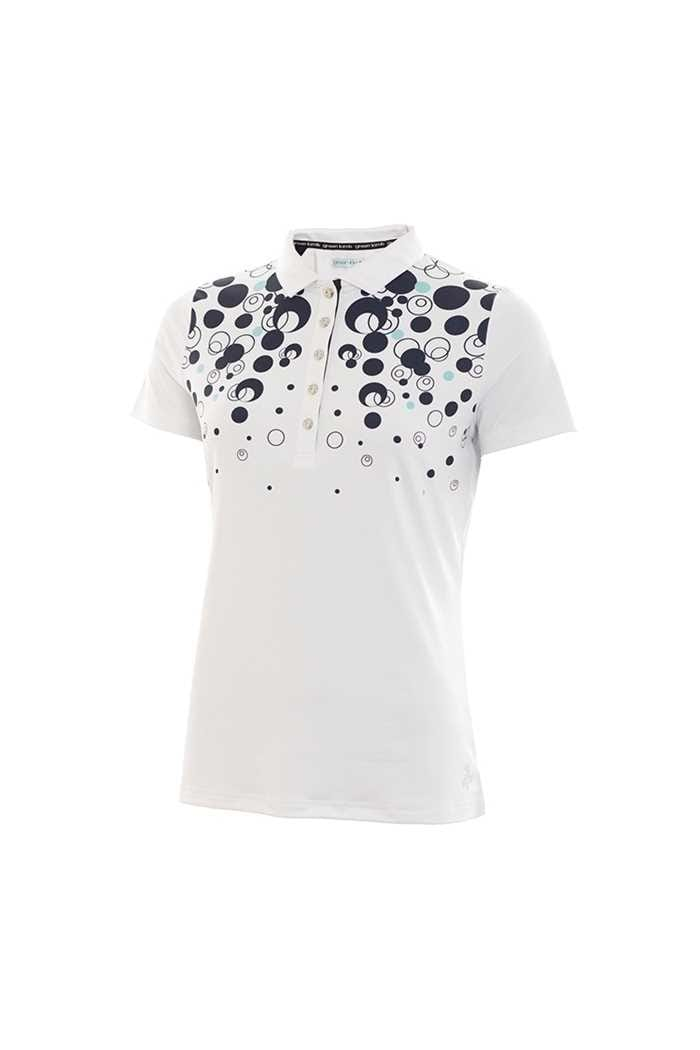 Picture of Green Lamb zns Phil Placement Print Polo Shirt - White / Navy