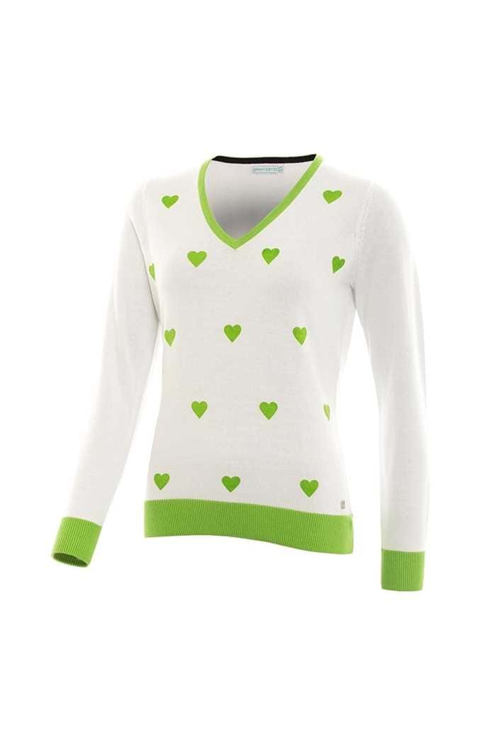 Picture of Green Lamb Geraldine Heart V-neck Sweater - White / Greenery