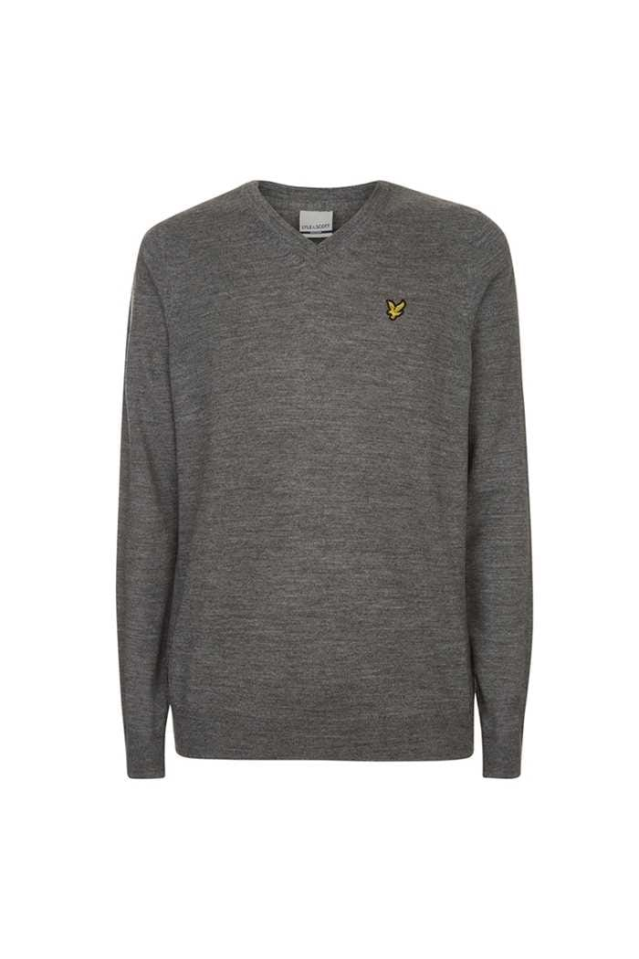 Picture of Lyle & Scott Men's Golf V Neck Sweater - Mid Grey Marl