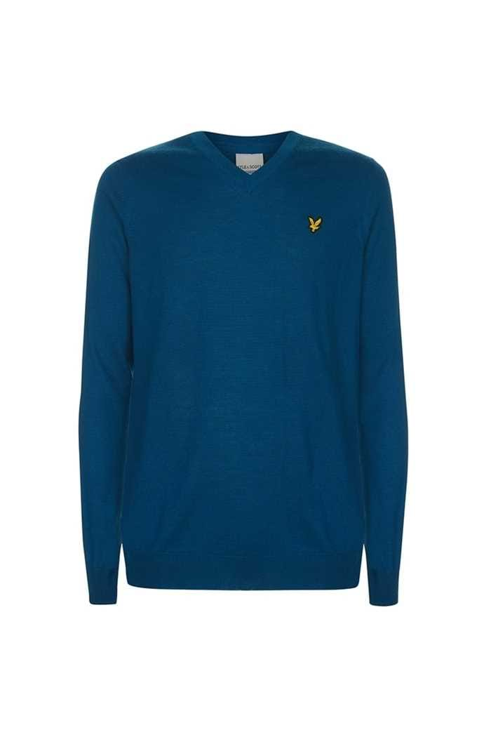 Picture of Lyle & Scott ZNS Men's Golf V Neck Pullover - Blue Ocean