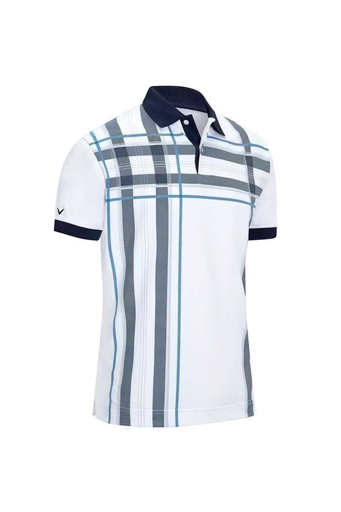 Picture of Callaway ZNS Men's X Oversized Plaid Print Polo Shirt - Bright White