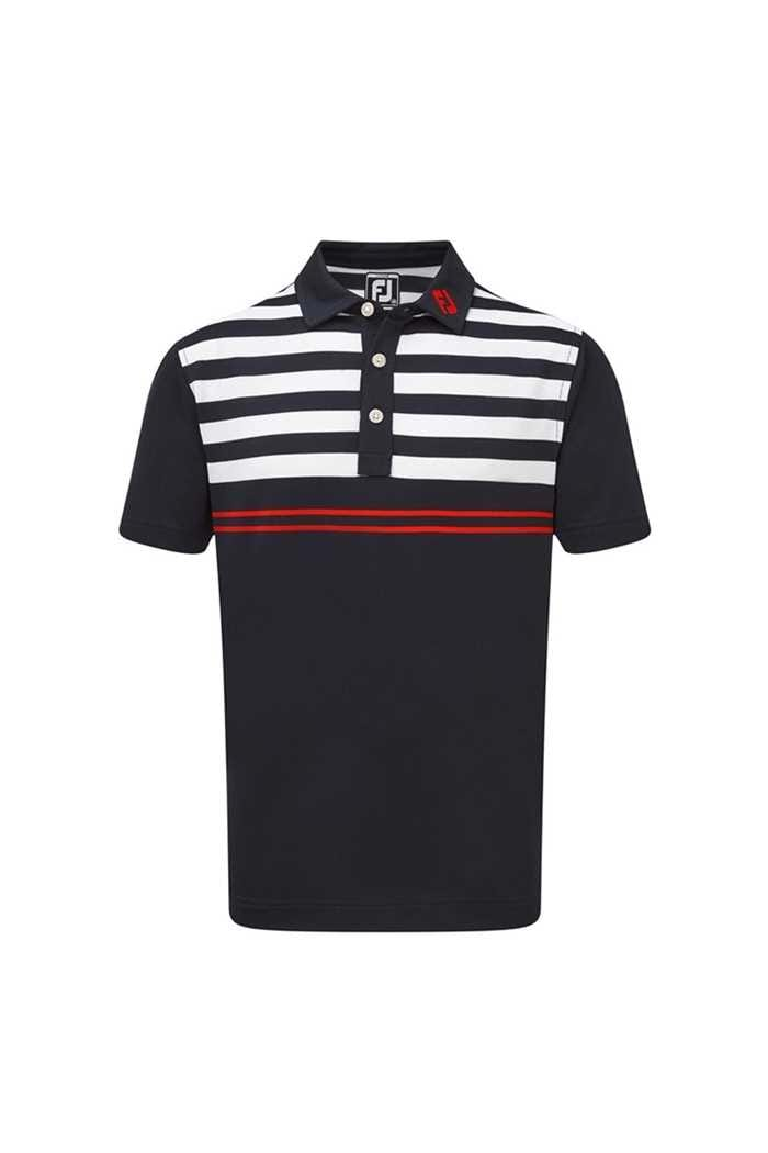 Picture of Footjoy ZNS Men's Smooth Pique with Graphic Stripes - Navy / White / Scarlet