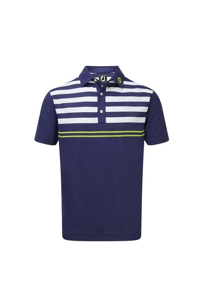 Picture of Footjoy zns  Men's Smooth Pique with Graphic Stripes - Twilight / White / Citrus