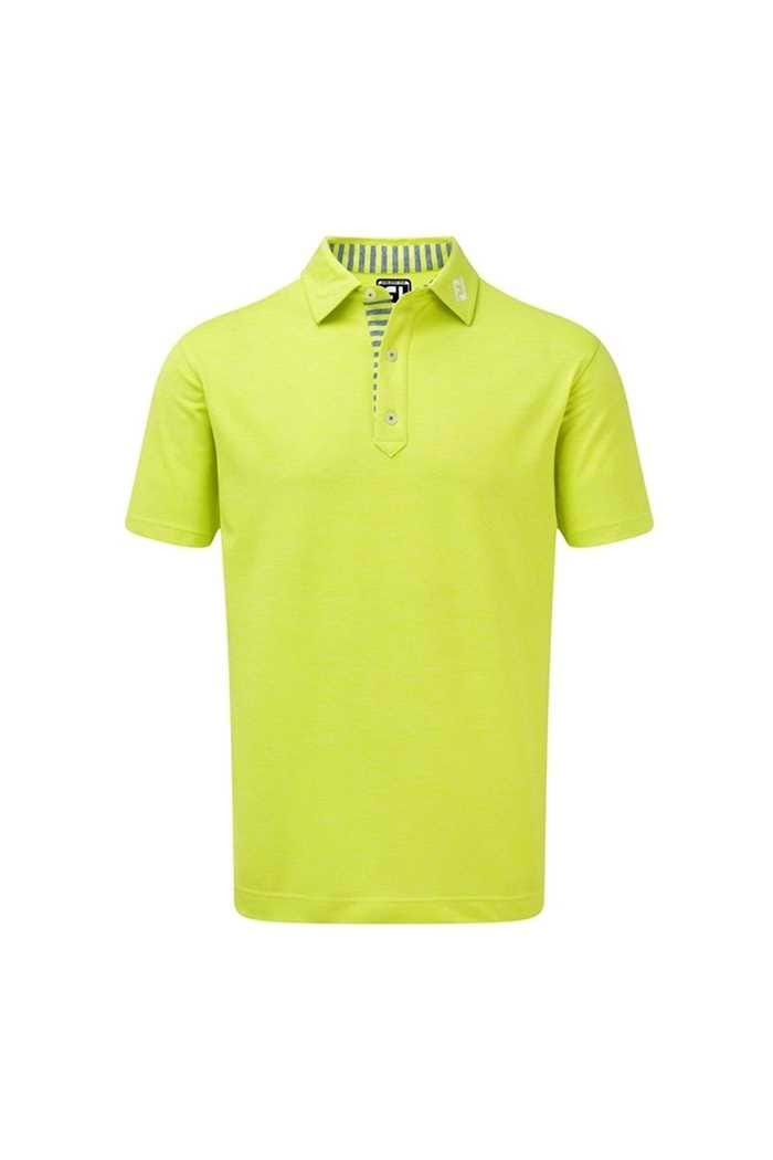 Picture of Footjoy zns Stretch Heather Pique with Stripe Trim - Citrus