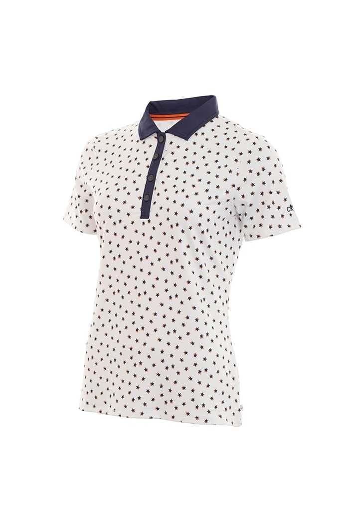 Picture of Calvin Klein Ladies Americana Polo Shirt - White / Pure Orange