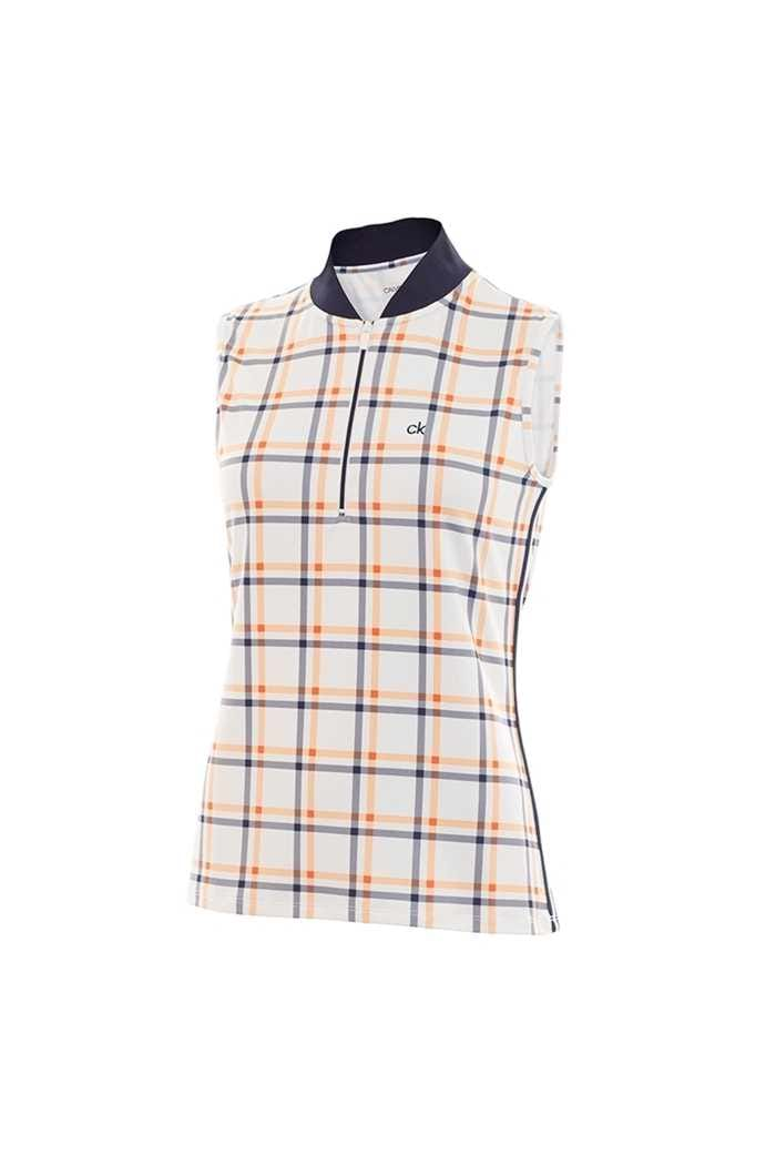 Picture of Calvin Klein Frontier Sleeveless Polo Shirt - White / Pure Orange