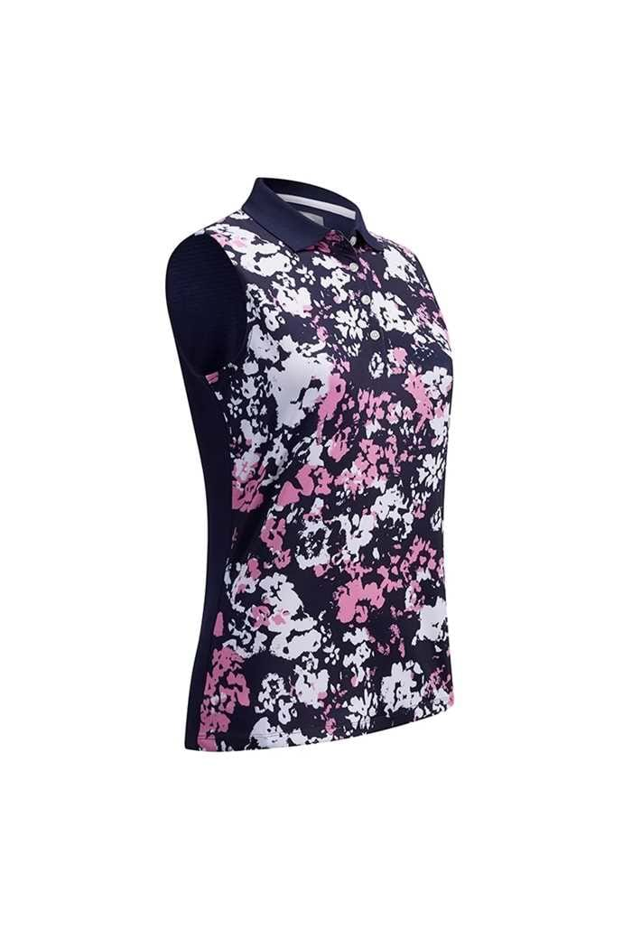 Picture of Callaway zns  Ladies Floral Print Sleeveless Polo Shirt - Peacoat