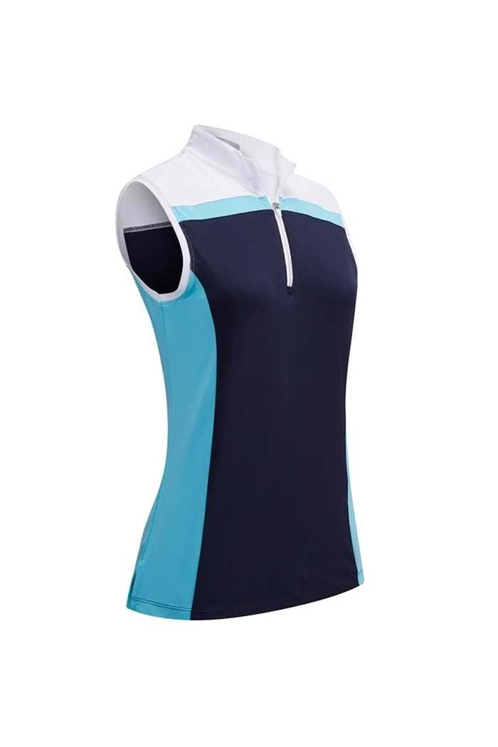 Picture of Callaway Ladies 3 Colour Block Sleeveless Polo Shirt - River Blue