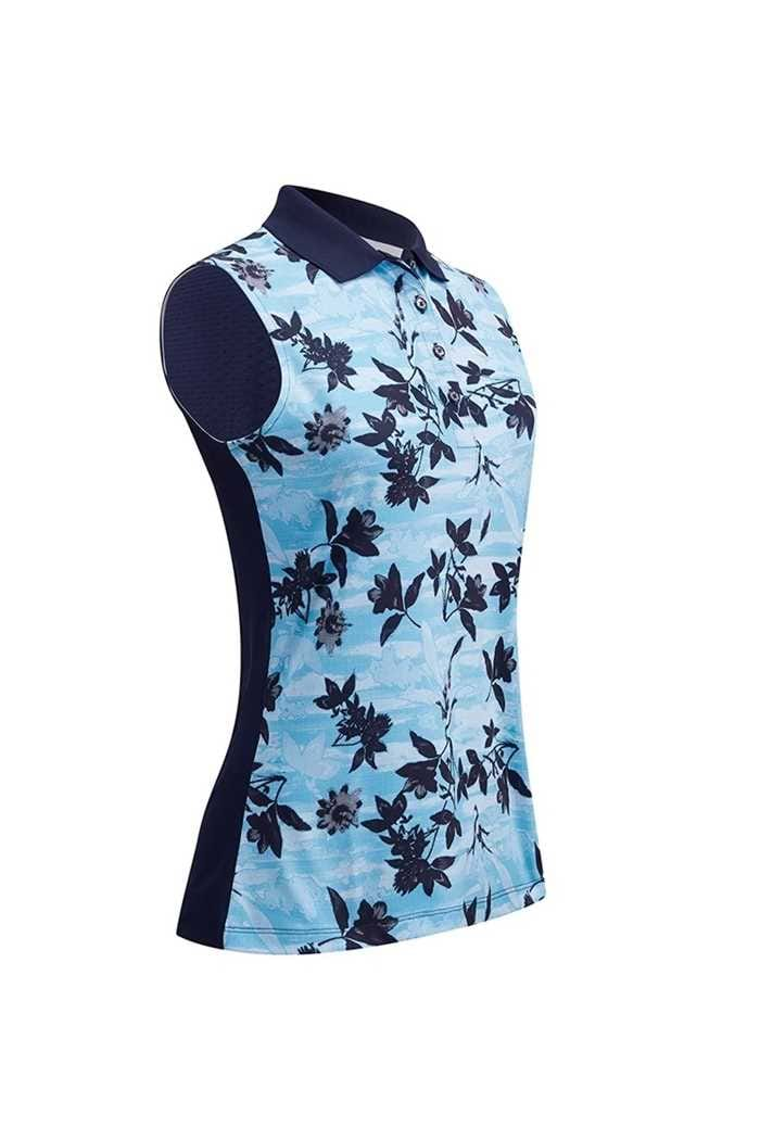 Picture of Callaway Honey Comb Floral Sleeveless Polo - Peacoat