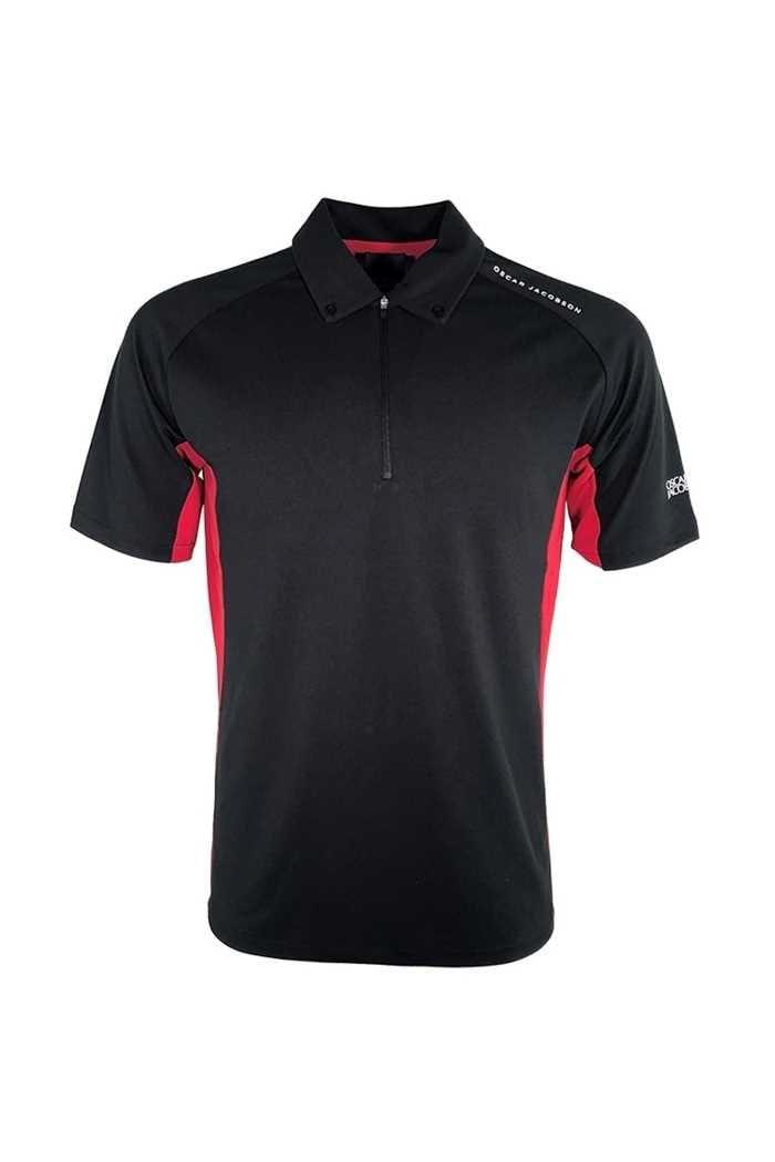 Picture of Oscar Jacobson zns Aston Course Polo Shirt - Black 310