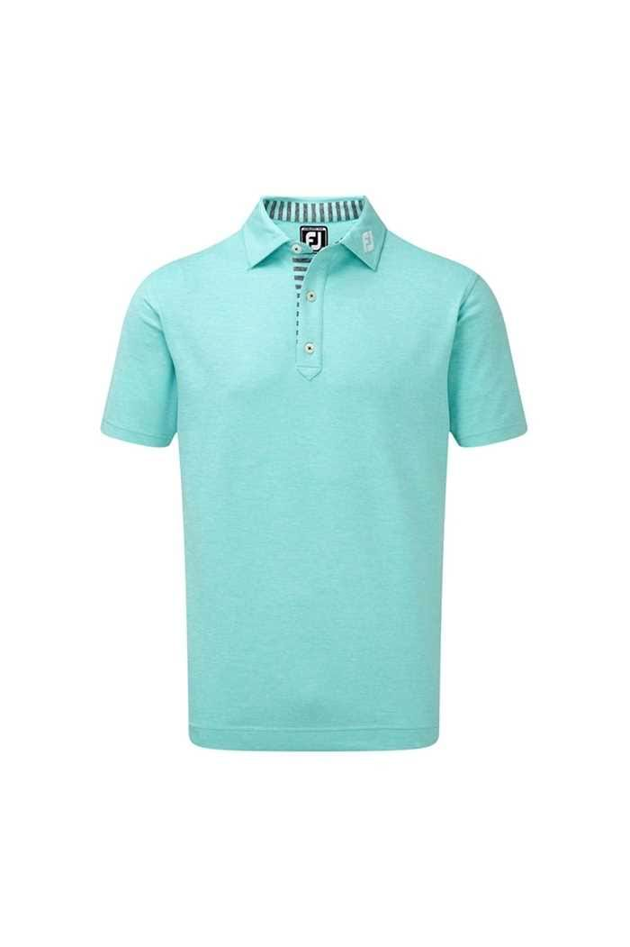 Picture of Footjoy Men's Stretch Heather Pique with Stripe Trim - Aqua