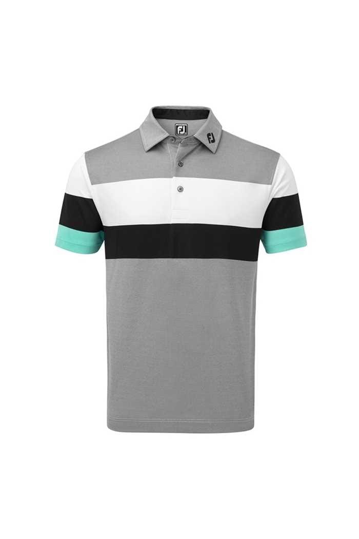 Picture of Footjoy ZNS Engineered Birdseye Pique Polo Shirt - Black / White / Aqua