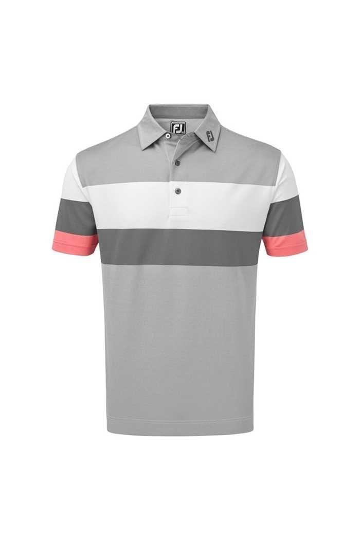 Picture of Footjoy ZNS Men's Engineered Birdseye Pique Polo Shirt - Granite / White / Watermelon