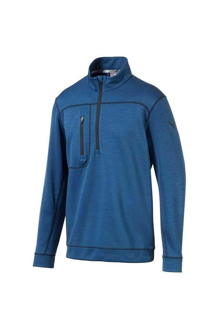 Picture of Puma Golf zns  Men's Go Low 1/4 Zip Sweater - Gibralter Sea Heather / Puma Black