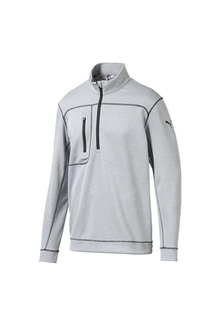 Picture of Puma Golf Go Low 1/4 Zip Sweater - Quarry Heather / Puma Black