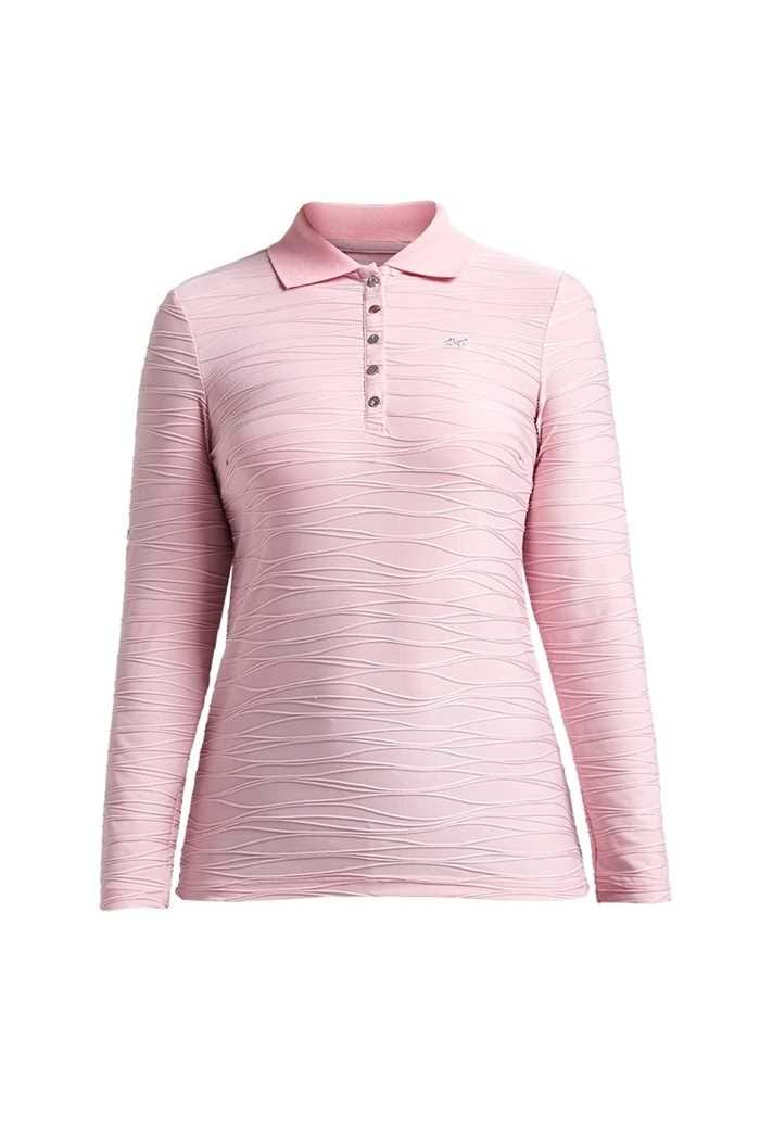 Picture of Rohnisch zns Wave Long Sleeve Polo Shirt - Rose Pink