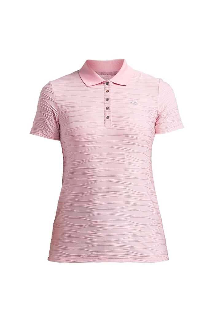 Picture of Rohnisch zns  Ladies Wave Short Sleeve Polo Shirt - Rose Pink