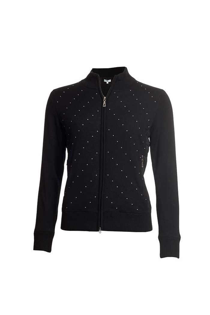 Picture of Green Lamb Ladies Gail Spot Wind Barrier Cardigan - Black / White