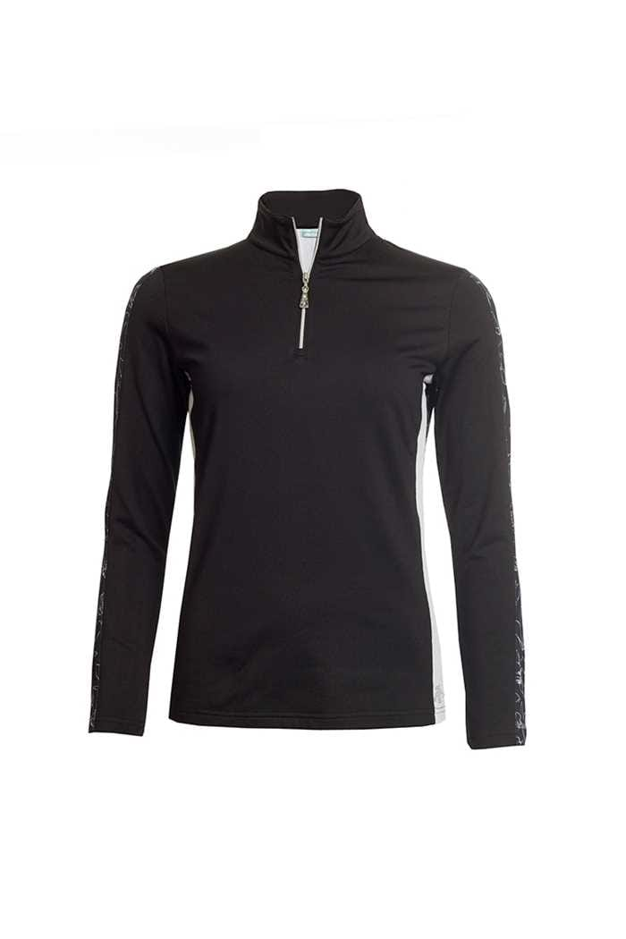 Picture of Green Lamb ZNS Ladies Remy Half Zip Side Panel Top - Black / White