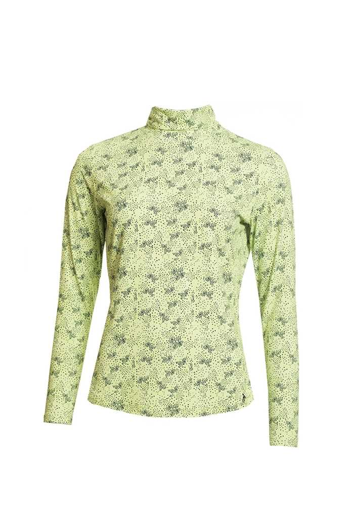 Picture of Green Lamb zns Ladies Regina Printed Roll Neck - Lime /Navy